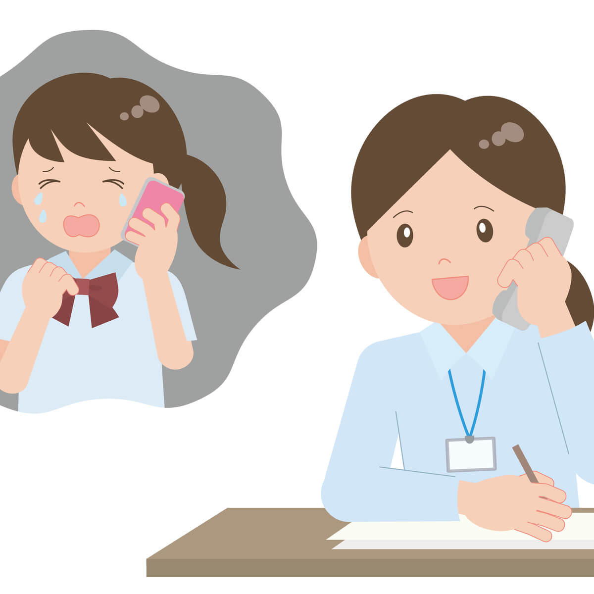 電話カウンセリングで悩みを聞いている女性カウンセラー