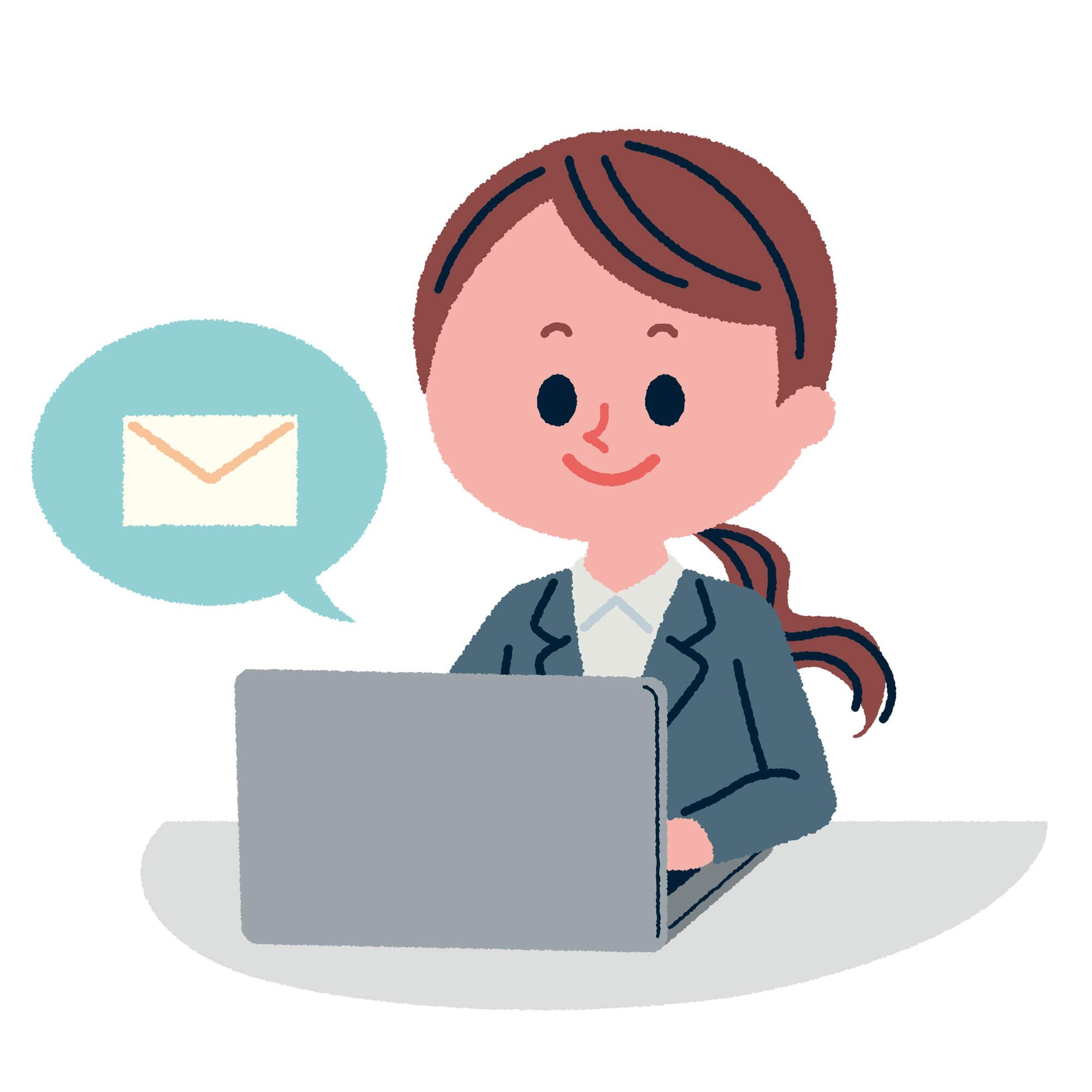 クライアントとメールカウンセリングをしている女性カウンセラー