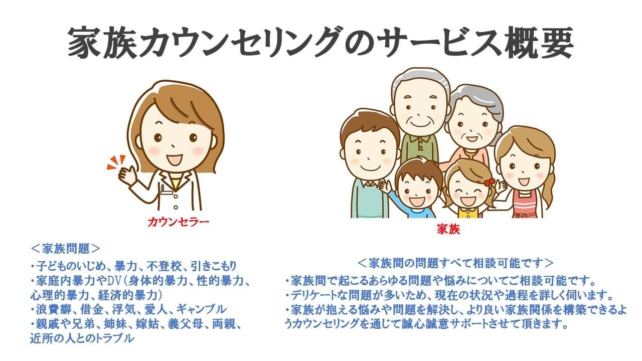 家族カウンセリングのサービス概要説明図